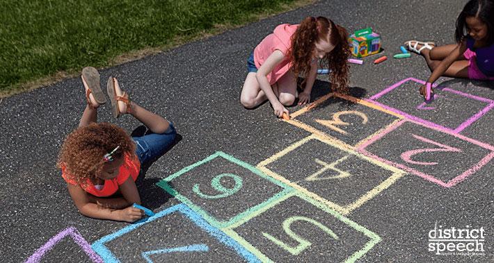sidewalk chalk for speech therapy training | Washington D.C. & Northern VA